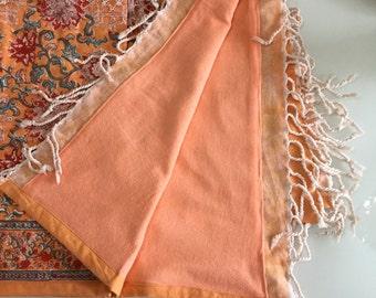 Peach block printed towel and matching beach bag