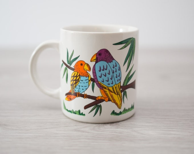 Vintage Coffee Mug with Tropical Birds Sitting on Branches / Colorful Tropical Quaker Parrots