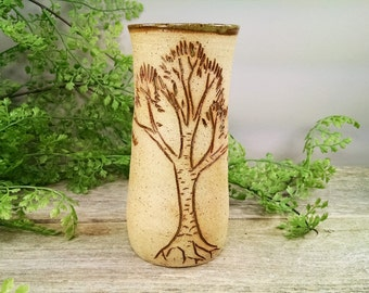 16 oz Bright Green Birch Tree Mug - Wheel Thrown and Hand Sculpted Coffee Cup