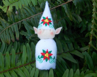 Elf Ornament ~ Decoration ~ Christmas ~ Holiday Stuffed White Felt with Red & Green Poinsettia