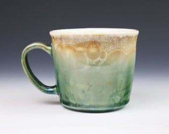 Crystalline 11 oz Mug Light Peach Tan Beige Yellow Green Fade with White Cup #0635