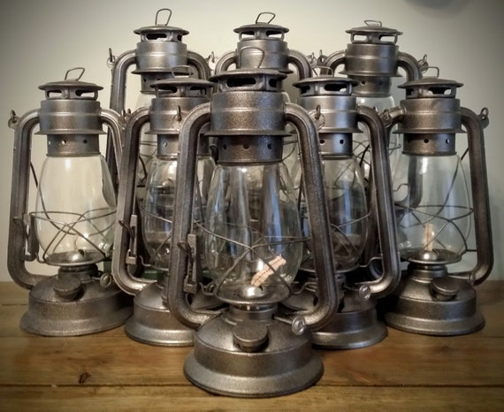 Steel railroad lantern silver rustic home decor by