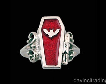 Sterling Silver Vampire Coffin Ring with Coloured Enamel