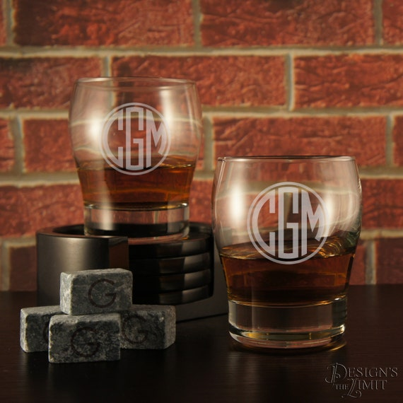 personalized whiskey glass with groomsman design options with