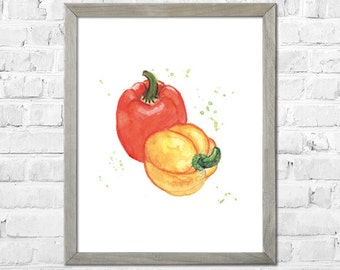 Pepper Art, Peppers Painting, Watercolor Pepper Print, Kitchen Art Print, Vegetable Art, Watercolor Painting, Kitchen Wall Decor