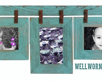 Barnwood Conestoga Collage frame for (3) 5x7s. Your choice of colors & orientation. SALE
