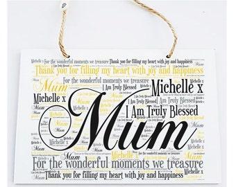 Personalised Mum Word Art Hanging Plaque Sign
