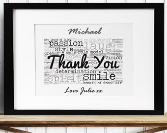 Personalised Friendship Thank You Framed Word Art
