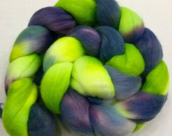 Organic Polwarth, 3.5oz, Wool, Roving, spinning, felting, needle crafts, hand Dyed, 103