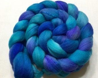 Merino Silk Blend, 102g, Roving, spinning, felting, blues, 15008