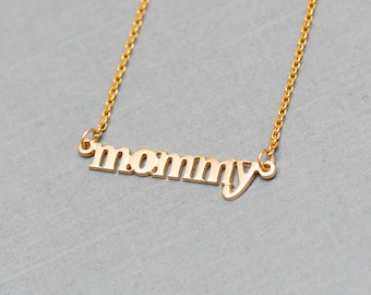 Small 14K Gold MOMMY Necklace - Handmade in USA, Tiny Solid Gold Necklace, Perfect for Mother's Day