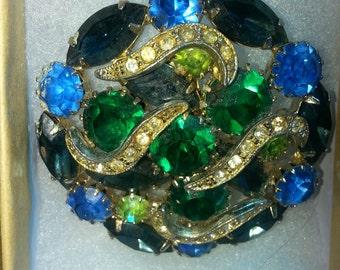 Vintage green & blue rhinestone large brooch 50s