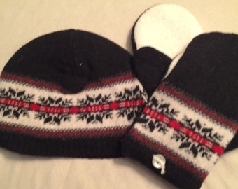 D12   Felted wool hat and mitten set   Size small