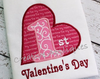 Personalized First 1st Valentine's Day Heart Applique Shirt or Onesie Girl or Boy