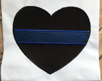Blue Line - Heart - Applique - Police - Law Enforcement - 4 Sizes Included - Embroidery Design -   DIGITAL Embroidery DESIGN