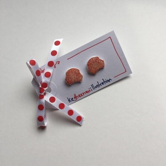 Line Art Earrings : Red cream unique shaped button earrings line art