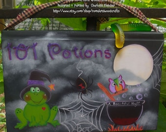 101 Potions Hand painted Frog with Cauldron, Full Moon Nights finds the Spiders are out, Fun Fall Decor, Halloween, Frog Owl Cauldron Spider
