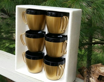 Thermo Serv NIB Insulated Coffee Cups with Gold Wire Handles & Thermo Serv Carafe