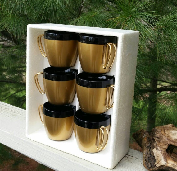 Thermo Serv Nib Insulated Coffee Cups With Gold Wire Handles