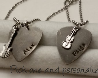 Personalized customized Guitar pick necklace with guitar charm