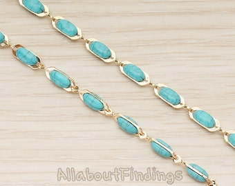 CHN131-G // Glossy Gold Plated Turquoise Colored Howlite Turquoise Linked Chain, 1 Meter.