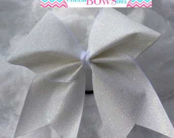 White Iridescent Glitter Bow
