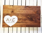 Wood Wedding Guest Book Alternative with  Heart and Personalized Initials