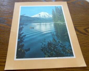 Mount St. Helens, Washington, Spirit Lake.  1970 Standard oil posters, Famous places, Landmarks,  advertising collection