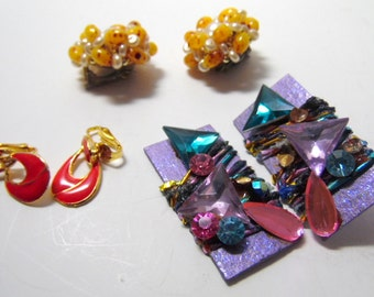 Three pair vintage and hand made clip on earrings, as shown