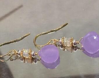 Lavender Chalcedony Earrings, Ethiopian Opal earrings, 14k Gold Fill,  .925 Sterling Earrings, Color Change Earrings, Earrings under 60