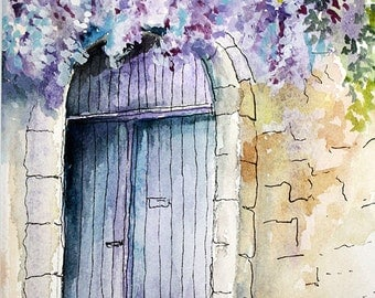 PURPLE DOOR - Original Watercolor