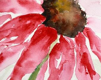 PINK DAISY - Original Watercolor, Wet on Wet, Watercolor, Watercolor Painting, Watercolor Art, Pink Flower, Pink Daisy Watercolor, Wall Art