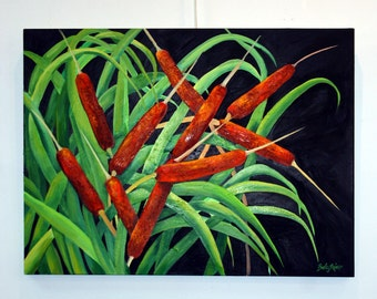 CATTAILS - Original Oil Painting Gallery Wrap