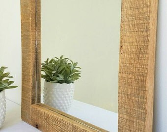 Thin Natural Reclaimed Barnwood Mirror, Farmhouse Mirror, Reclaimed Wood Mirror