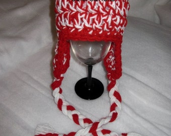 Crochet Chunky Earflap Hat Red And White 0-3 Months, ON SALE, earflap hat, earflap hat photo prop, baby photo prop, photo prop hat, 0-3 M