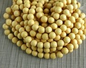 12mm Marigold Yellow Round Wood Beads - Dyed and Waxed - 15 inch strand