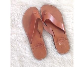 Vintage Handmade Moros Greek Genuine Tan Leather Sandals 8 7.5 7