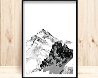 Mountain Print, Mountain Photographic Print, Mont Blanc Printable, Wilderness Wall Art, Black & White Mountains, Wilderness Decor, Ski Lover