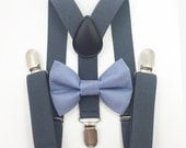 FREE DOMESTIC SHIPPING! Dark gray suspenders  + Dusty Blue Bow tie toddler kids boy boys Adult holidays photos family photoshoot