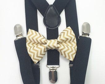 FREE DOMESTIC SHIPPING! Black suspenders and metallic gold chevron bow tie kids boy boys teens adults wedding pictures birthday formal