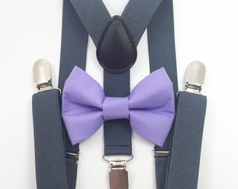 FREE DOMESTIC SHIPPING! Dark gray suspenders  + Lavender Bow tie toddler kids boy boys Adult holidays photos family photoshoot