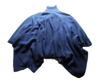 Women's merino wool turtleneck Poncho/shawl/sweater cardigan/schrug/cape