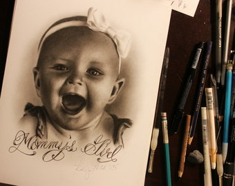 Custom Baby Drawing - Original Artwork - Custom Drawing - Portrait Drawing