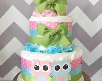 Owl Diaper Cake for Twins, Gender Reveal Centerpiece, Owl Baby Shower Decoration
