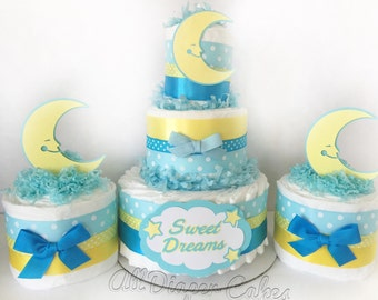 Sweet Dreams Set of 3 Diaper Cakes, Over the Moon Baby Shower Decorations, Centerpiece
