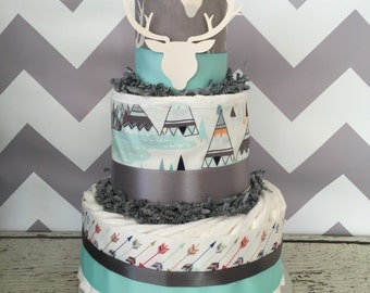 Aztec Diaper Cake in Mint and Grey, Tribal Baby Shower Centerpiece