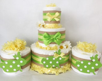 SET OF 3 Spring Diaper Cakes, Spring Theme Baby Shower Centerpieces, Easter Decorations