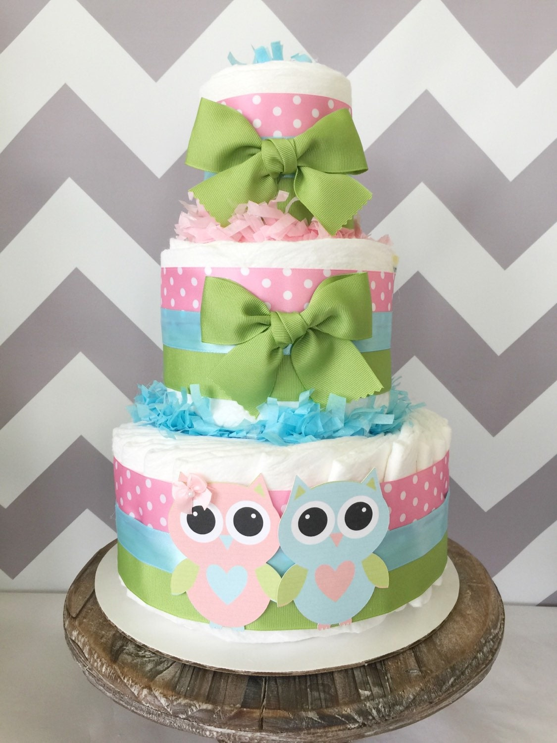 Owl diaper cake for twins gender reveal centerpiece owl baby for Baby shower decoration twins