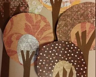 Paper Trees in Autumn Colors, Paper Embellishments, Craft Supplies, Scrapbook Supplies