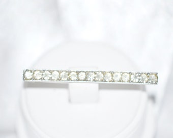 Vintage Signed Castlecliff Sterling Silver Rhinestone Bar Pin